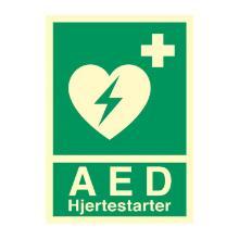 Skilt Hjertestarter AED 210x297 plast product photo