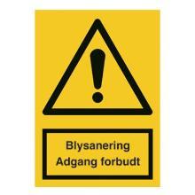 Skilt Blysanering Adgang forbudt 210x297 plast product photo