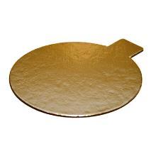 Kagepap guld/sølv Ø80mm m/øre PET laminat product photo