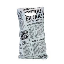 Bærepose på blok Old News hvid HDPE 245x390+30mm 18my product photo