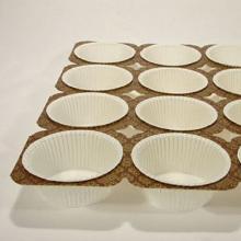 Muffinbakke brun/guld 24 stk hvide runde forme NTS4 product photo