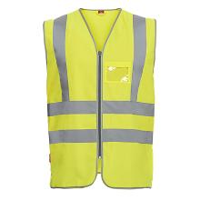 Vejvest Safety EN ISO 20471 klasse 2 gul m/ID lomme polyester product photo