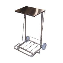 Affaldsstativ rustfrit stål 510x525x865mm m/låg og pedal t/110l sække product photo