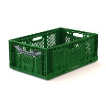 Foldekasse grøn PP m/gråt håndtag 600x400x230mm 45l product photo