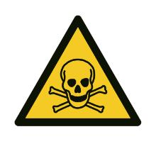 Label selvklæbende A355 Giftige stoffer 50mm vinyl ark m/10 labels product photo