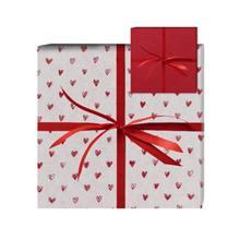 Gavepapir jul mat Little Hearts hvid m/røde hjerter 2-sidet 38cmx150m product photo