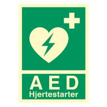 Skilt Hjertestarter AED 148x210 efterlysende vinyl product photo