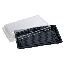 Plastbakke rekt sort PS 220x140x40mm m/klart låg Sushi product photo