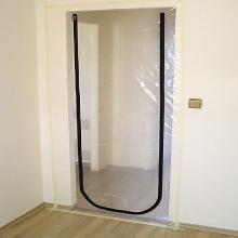 Støvdør PE 120x220cm med påsyet U-form lynlås product photo