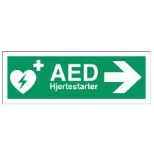 Skilt Hjertestarter AED med højre pil 105x297mm plast product photo