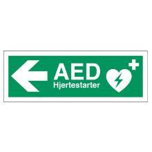 Skilt Hjertestarter AED med venstre pil 105x297mm plast product photo