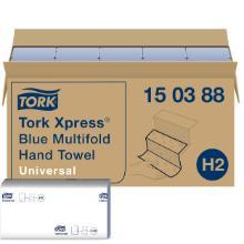 Håndklædeark Tork Xpress H2 multifold blå 23.4x21.3cm 2 lag product photo