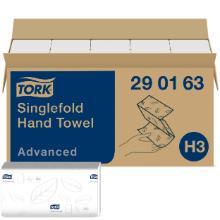 Håndklædeark Tork Soft Advanced H3 singlefold hvid 230x248mm 2 lag product photo