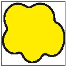 Etiket 48x45mm stor sky DT t/tiltryk gul/sort permanent lim Ø40 product photo