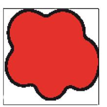Etiket 40x38mm lille sky DT t/tiltryk rød/sort permanent lim Ø40 product photo