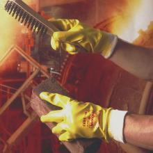 Handske Nitrotough N250Y gul nitril med 100% jerseyfor product photo
