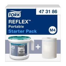 Dispenser håndklæderulle Tork Reflex transportabel M4 turkis/hvid plast product photo