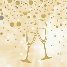 Servet celstof 24x24cm 3-laags Best Wishes cream Productfoto