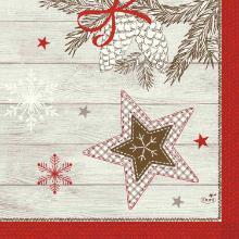 Duni servet Cozy Winter 33x33 cm 3 laags rood en wit Productfoto