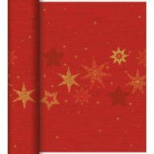 Duni Dunicel Star Stories tete a tete tafelloper 0.4x24 meter rood met print Productfoto