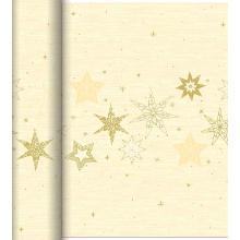 Duni Dunicel Star Stories tete a tete tafelloper 0.4x24 meter creme met print Productfoto