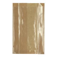 Papieren vensterzak polykraft+PE 14+(2x3)x24 cm bruin met geperforeerd venster Productfoto