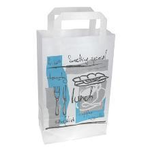 Papieren draagtas 18x8x28 cm lunch wit bedrukt Productfoto