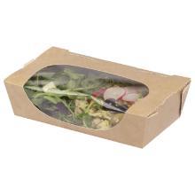 Kraft saladebox 200/180 x 120/100 x 50 mm bruin met venster Productfoto
