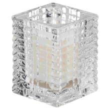 Bolsius kaarshouder Ribbed 76x58 mm transparant theelicht op Clear Cup Plus Productfoto