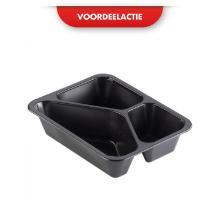 Menuschaal PP 3v 22.7x17.7x4.5cm zwart 2227/3 ACTIE Productfoto
