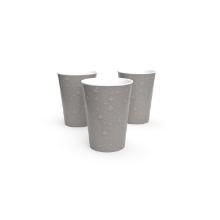Kartonnen beker 8 oz individueel verpakt waterdruppels warm grijs Productfoto