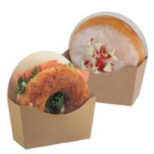 Kartonnen bagel scoop verpakking 120x46x60/120 mm bruin Productfoto