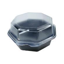 Plastic saladebak PS achthoek 16x16x8 cm 580cc zwart + vast deksel Productfoto