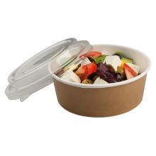 Kartonnen multi-food bak PE met APET deksel 550 ml bruin/transparant Productfoto