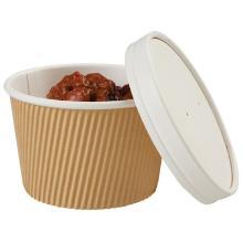 Kartonnen maaltijdbak PE rond ø11.5 hoogte 7.5cm 450cc bruin/wit dubbelwandig Productfoto