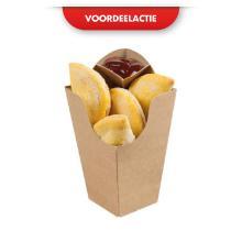 Kartonnen maaltijdbak 7.4x7.4x15cm kraft met saus hoekje ACTIE Productfoto