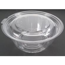 Plastic saladebak PLA Bio rond 540cc transparant + vast deksel Productfoto