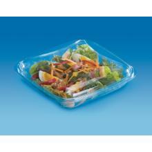 Plastic saladebak APET vierkant 19x19 cm 750 cc transparant Productfoto