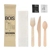 Houten bestekset 6/1 vork/mes/lepel/zout/peper/servet wit Productfoto