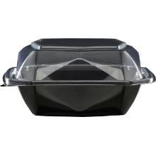 Duni plastic maaltijdbak APET Octaview vierkant 15x15x7 cm 400 cc zwart Productfoto