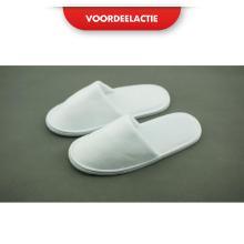 Velour kinderslipper met gesloten teen EVA zool 5 mm 22 cm wit ACTIE Productfoto