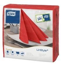 Tork Linstyle Dinner Servet 39x39cm 1/4vouw rood Productfoto