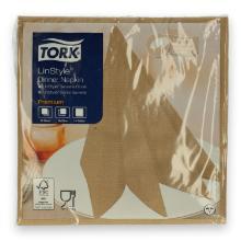 Tork Linstyle Dinner servet 39x39cm 1-laags 1/4vouw biscuit Productfoto