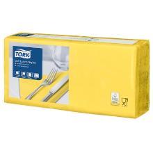 Tork Lunch celstof servet 33x33cm 3-laags 1/4vouw geel Productfoto
