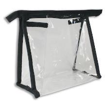 Toilettas 12x12x7cm transparant/zwart met rits Productfoto