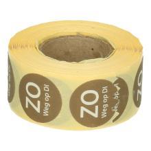 Daymark afwasbare sticker Zo weg op Di 500 stuks op rol HACCP Productfoto