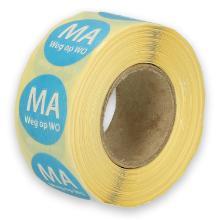 Daymark afwasbare sticker Ma weg op Wo 500 stuks op rol HACCP Productfoto