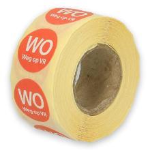 Daymark afwasbare sticker Wo weg op Vr 500 stuks op rol HACCP Productfoto