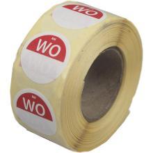 Daymark afwasbare sticker Wo zonder weg op 500 stuks op rol HACCP Productfoto