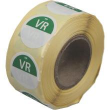Daymark afwasbare sticker Vr zonder weg op 500 stuks op rol HACCP Productfoto